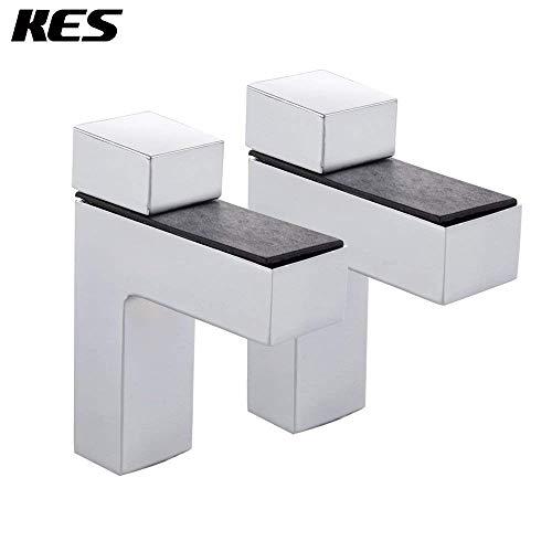 UHK Lysqva Badezimmerzubehör WC-Badezimmer Kes Hsb301A-P2 Solid Metall Verstellbare Holz/Glas Regal Halterung Wandhalterung 2 Stück Oder Ein Paar, Chrom Poliert -