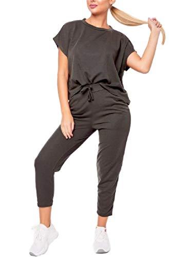 CuteRose Women Round Neck Ankle Pants Drawstring Loose 2pcs Tracksuit Jog Set Green XS