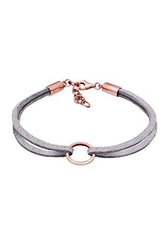 Elli Damen Armband Kreis Geo Velour Leder Optik Trend 925 Sterling Silber Rose 0208423117_16