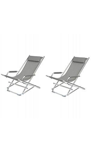 La Chaise Longue 37-1J-003 Chaise longue de jardin Rocking chair pliable avec accoudoirs et coussin appui-tête Aluminium et toile textilène Gris chiné H80 x 60 x 90 cm