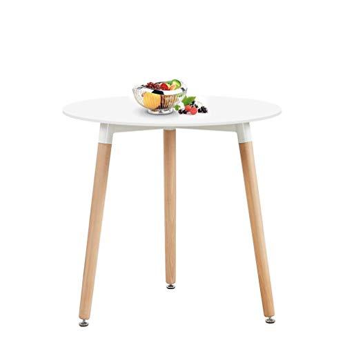 H.J WeDoo Runder Esstisch Weiss Küchentisch, Holz, 80 * 80 * 72 cm, Beine Natur, Gummi Untersetzer, Weiß -