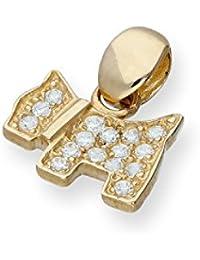 9ct Gold & Clear CZ Crystal Flat Scottie Dog Charm