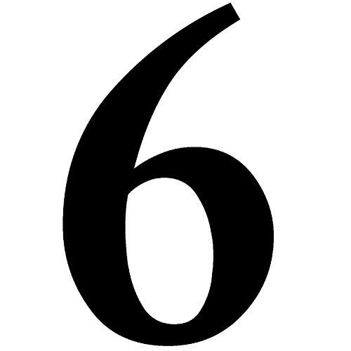 Zahlen-Aufkleber Nr. 6 in schwarz I Höhe 20 cm I selbstklebende Haus-Nummer, Ziffer zum Aufkleben für Außen, Briefkasten, Tür I wetterfest I kfz_472_6