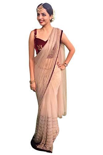 Indian Designer Net Saree with Velvet Blouse Bollywood Party Wear Sari Ethnic