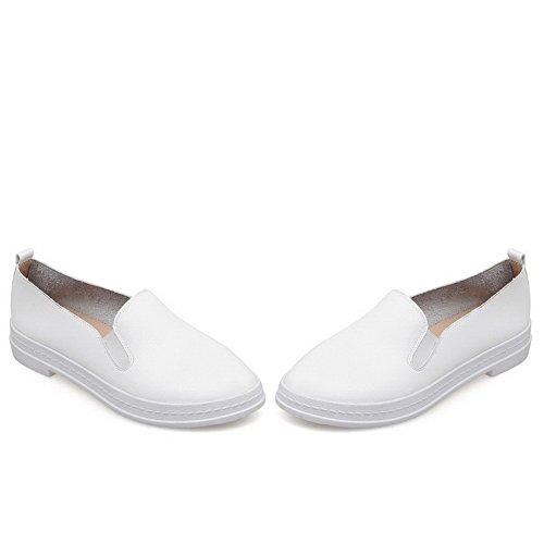 AllhqFashion Femme à Talon Bas Tire Couleur Unie Rond Chaussures Légeres Blanc