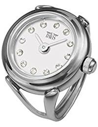 Davis 4172 - Reloj Anillo Mujer Ajustable Acero Esfera Blanco Cristal Swarovski Cristal de Zafiro