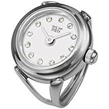 Davis 4172 - Reloj anillo ajustable para mujer, esfera blanca con cristal Swarovski, cristal de zafiro