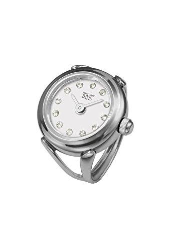 Davis 4172 - Reloj anillo ajustable para mujer, esfera blanca con cristal...