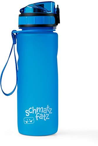 schmatzfatz auslaufsichere Sport Trinkflasche Kinder, BPA frei, 500ml, Fruchteinsatz, 1-klick Verschluss, Kinder Trinkflasche für Schule Kindergarten (Blau)
