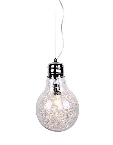 Sospensione Lampadario moderno cromo lucido a forma di lampadina