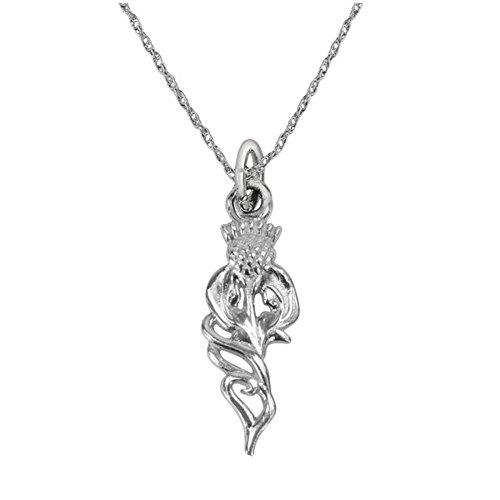 Sterlingsilber-traditionelle schottische Distel-Blume des Schottland-Tropfen-Art-Liebes-Herz-Halsketten-Anhängers - schließt 18