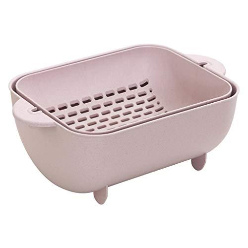 CQOZ Double-Layer-Rotary Drain Spüle/Waschen Obstbrei Reiskorb/Küche Haushalt Obstteller Obstteller (Color : Pink) - Rotary-spulen