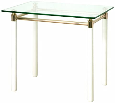 HAKU Furniture Series White High-Gloss with Gold-Plated Accents, Clear Safety Glass Shelves, weiß-vergoldet, 60 x 50 x 54