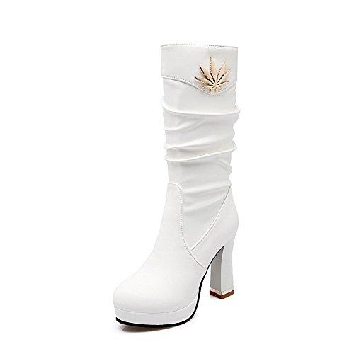 AllhqFashion Damen Rein Ziehen auf Mitte-Spitze PU Mittler Absatz Stiefel, Weiß, 37