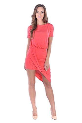 Damen Minikleid Asymmetrisch Kurzarm Cocktailkleid Abendkleid Gr. S M L XL,  8232 Koralle