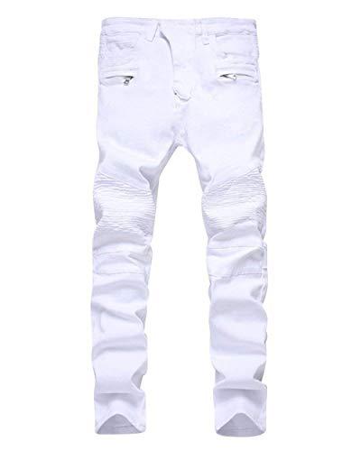 Adelina Herren Biker Jeans Stretch Vintage Jeans Zerrissen Jungen Denim Destroyed Slim Fit Stretch Jeanshosen Freizeithose (Color : Weiß, Size : 35(Waist90CM)) -