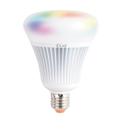 iDual JE0189081 A+, LED-Leuchtmittel G100 mit Fernbedienung, 1 Stück, Plastik, 16 W, E27, weiß, 10 x 10 x 13.8 cm