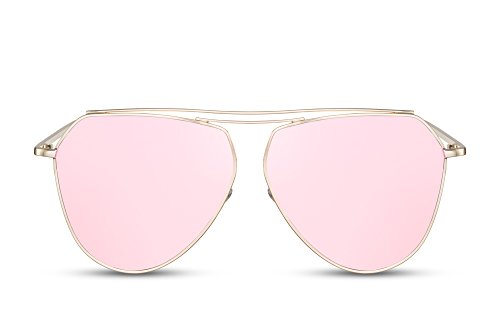 Cheapass Sonnenbrille Verspiegelt-e Aviator Rosé-Gold UV400 Flat-Mirror Metall Frauen Damen