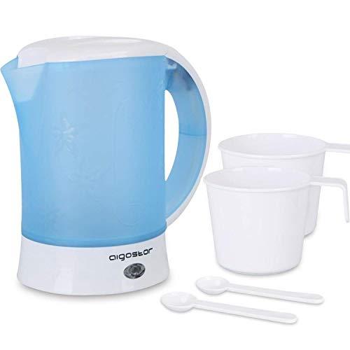 Aigostar Walking Drip 30JQK-Compacto hervidor de agua 650 W, 0,6 litros, protección contra la ebullición en seco. Libre de BPA. Incluye dos tazas y dos cucharas de regalo. Diseño exclusivo.