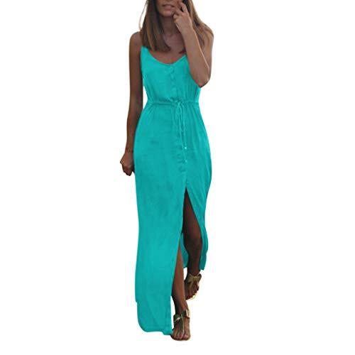CANDLLY Kleider Damen,Elegant Sommerkleid O-Neck Abendkleid Bandage Buttons Solide ärmellose Partykleid Gespaltenes Langes Maxikleid Strandkleid Kleid Holiday ()