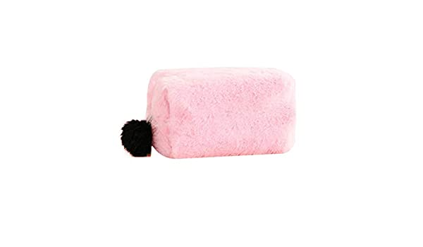 Haodou. Plush Makeup Bag with Pompom Ball Zipper Cosmetics