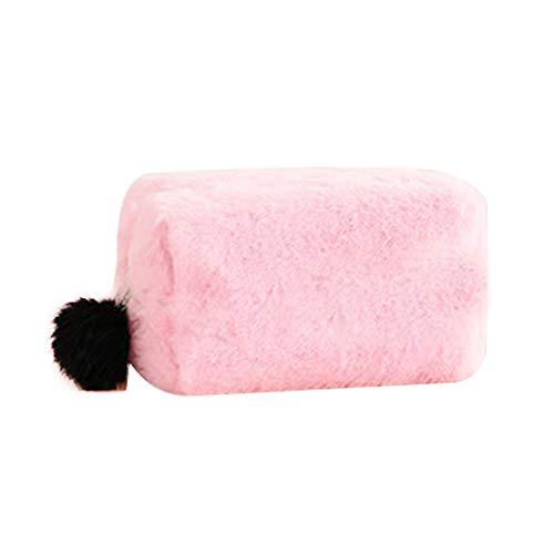 Leisial Femme Trousse de Toilette en Peluche Sac Cosmétique Portable Beaute Cosmétique Maquillage Sac de Voyage 24.5 * 11 * 12cm(Rose)