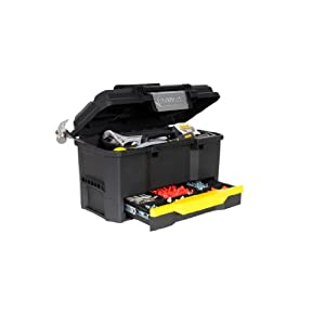Stanley Werkzeugkiste leer aus Kunststoff 1-70-316 – Werkzeugkoffer mit integrierter Schublade für Kleinteile – Maße: 48.1 x 27.9 x 28.7 cm