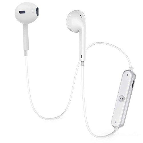 Auriculares Bluetooth V4.1 Inalambricos Deportivos,Auriculares Manos Libre Estéreo con Micrófono Cancelación de Ruido Compatible con apple iPhone, Samsung, HTC y más(blanco)