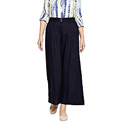 Be Indi Women Navy Coloured solid Palazzo 10301