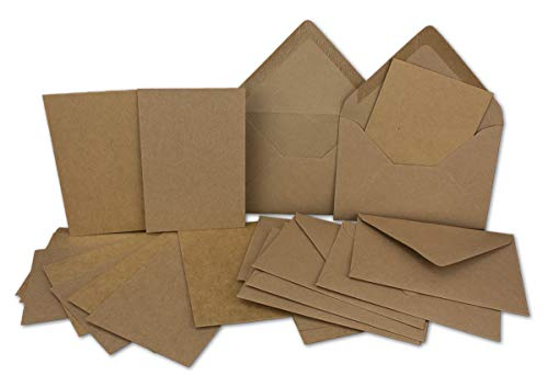 25 Stück Karte mit Umschlag Set - Einzel-Karten Din A5-14,8 x 21 cm Sandbraun mit Brief-Umschlägen Din C5-15,7 x 22,5 cm Sandbraun - Nassklebung (Kostenloser Mit Umschläge 5x7 Versand)