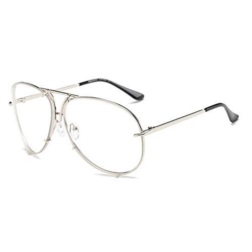 Siwen Neue Frauen Pilot Sonnenbrillen Übergröße Männer Silber Spiegel Objektiv Gläser,Silber klar