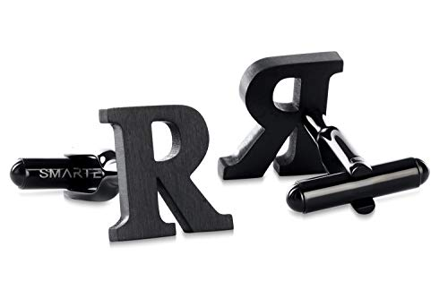 SMARTEON® Manschettenknöpfe für Herren | Premium Buchstaben A-Z | Silber & Schwarz aus hochwertigem Edelstahl in mattem Design | Elegante Cufflinks in einem edlen Geschenk-Set (R - schwarz)