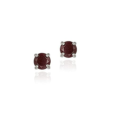 Sterling Silver Genuine Ruby 6mm Round Stud Earrings - July