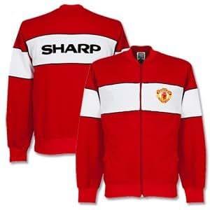 1985 Man Utd Retro Track Jacket - Red/White - XXL