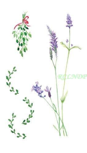 5pcs tatoo tattoo impermeabile bello fiore viola lavanda foglia adesivi tatto flash tatuaggi tatoo per le donne ragazza