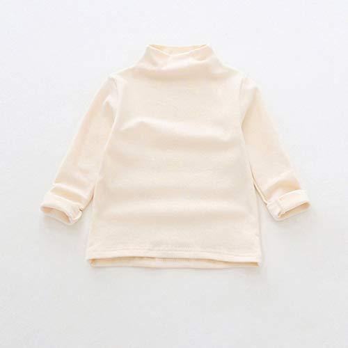 Fashion Baby T-Shirt Halbhoher Kragen Langarm Hemd mit Boden Koreanische Version Herbst Wilde Tops Kinderbekleidung - Beige 120cm