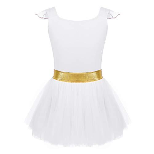 e2274a3b2 ranrann Maillot de Ballet Niña Manga con Volante Vestido de Danza Tutú con  Cintura Dorada Algodón
