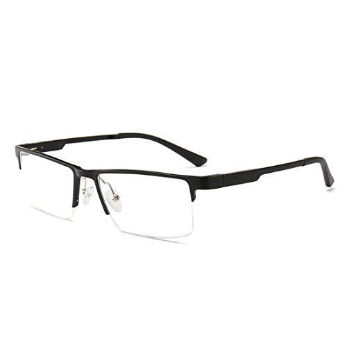 Sakuldes Herren Business halber Rahmen quadratische Brille Nicht verschreibungspflichtige Brille für Frauen Herren klare Gläser Schwarz