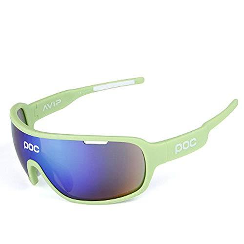 Zago Radfahren Laufbrillen Radfahren Laufbrille UV400 Schutz ultraleichte Rahmen polarisierte Sport-Sonnenbrille Design Männer und Frauen 5 Wechselgläser 7 Farben (Color : Green)