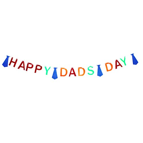 Amosfun GLÜCKLICHE DADS Day Letters Bunting Banner Bunte Filz Krawatte Banner Vatertag Decor Pull Flag Party Supplies