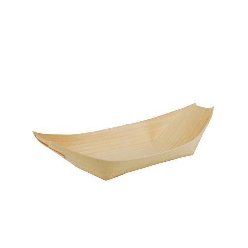 """Papstar Fingerfood Schalen / Holzschalen, """"Schiffchen"""" (50 Stück) aus Kiefernholz """"pure"""", 19 x 10 cm, besonders dekorativ, Blickfang für Grillparty oder Geburtstag, biologisch abbaubar, #84417"""