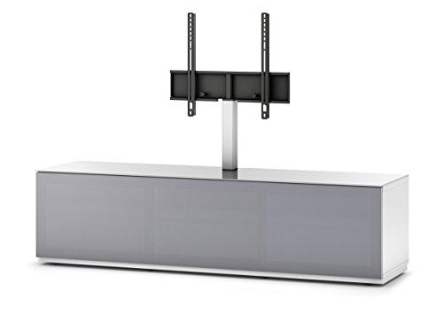 Sonorous STA 261T-WHT-GRY-BS stehende TV-Lowboard mit TV-Aufhängung, versteckten Rollen, weißer Korpus, obere Fläche, gehärtetem Weißglas und Klapptür mit grauem Akustikstoff
