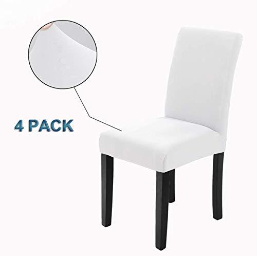 Veakii r coprisedie con schienale 4 pezzi, coprisedia per sala da pranzo mobili da cerimonia nuziale moderni, hotel, ristorante decor (bianca, 4 pezzi)