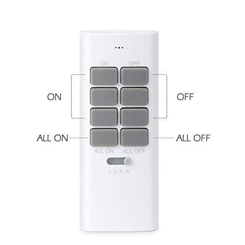 Lunvon 12 Kanal 1000 Watt Funksteckdosen Set aus 5 x Funksteckdose mit 2 x Fernbedienung, Funkschalt Set für Haushaltsgeräte, Steckdosen Keine Hindernisse Fernsteuerungsabstand 30M, Weiß
