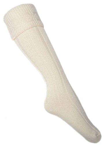 Erwachsenen Mann Kostüm Scottish Für - Schnäppchen KILT Socken Cremefarbe, Größe 44-48