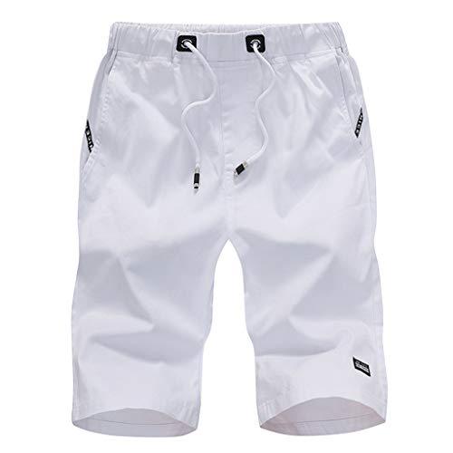 Morran Herren Sommer Kurze Jeans Cargo Shorts Jogger Kurze Hose Basic 3/4 Freizeit Sport Fünf-Cent-Hosen Baumwolle mit Gürtel Strand Kurze Hosen(Weiß,XXXXXL) -