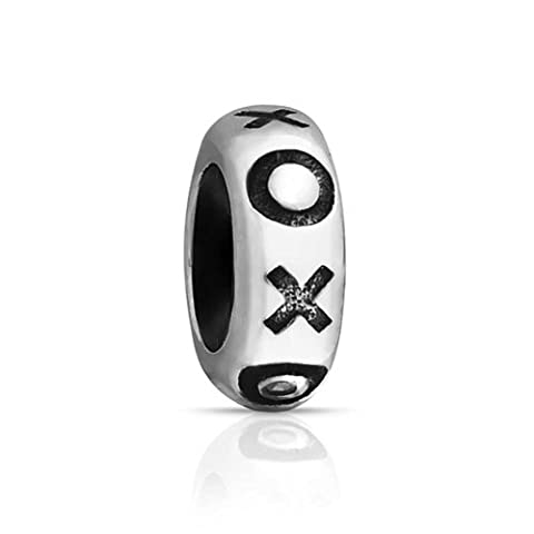 Bling Jewelry Rubber XOXO Hugs Kisses Stopper Bead Charm .925