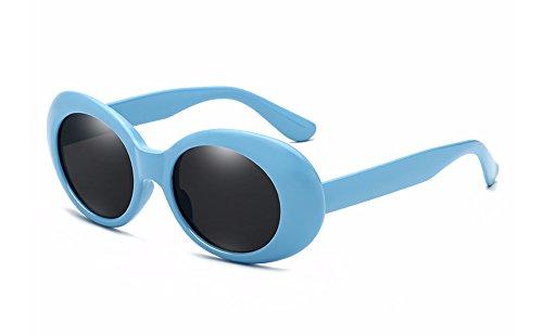 Bozevon retrò uv400 donna & uomo ovale occhiali da sole occhialoni blu-nero c3
