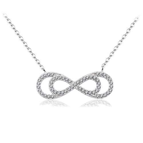 BiBeary Damen elegant 925 Sterling Silber Zirkonia CZ Unendlichkeit Ewigkeit doppel 8 Form Kette Halskette Kette klar