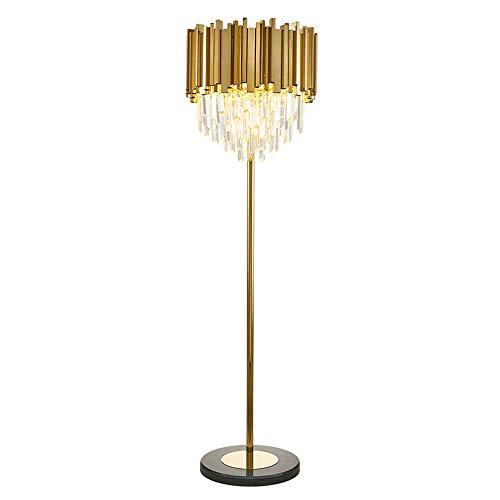 Stehleuchte, Crystal Stehlampe, goldfarben plattierter Edelstahl-Uplighter, Marmor-Sockel-Torchiere, Auge stehende Stehlampe, Wohnzimmer-Studie Schlafzimmer Stehlampe E14 Glühlampe [A +++] -